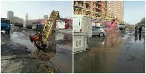 Строительный кран рухнул в Караганде: застройщик накажет виновных