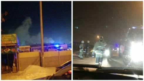 Пожар произошел на территории рынка в Караганде