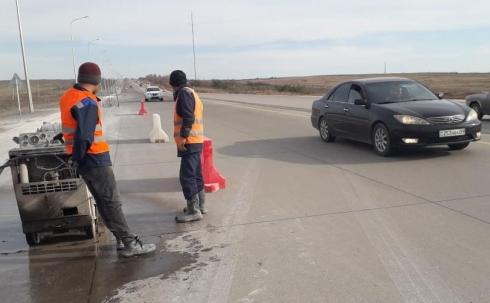 Потрескавшийся бетон на трассе Караганда -Темиртау заменят