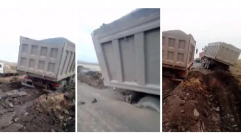 Грузовики провалились под асфальт в Карагандинской области. В акимате прокомментировали ситуацию