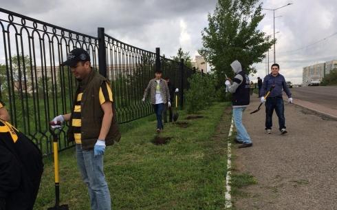 Карагандинцы высадили на территории КарГУ более ста деревьев