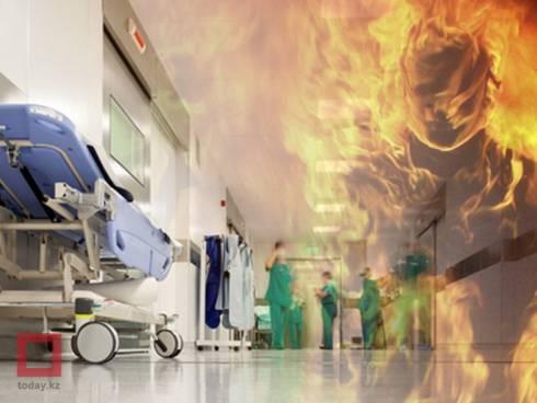 Обгоревший при падении частей ракеты доставлен на вертолете в клинику Караганды